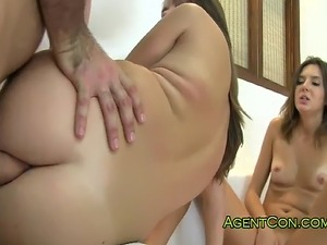 Two tanned brunette amateur girls spread their pussies on casting then big...