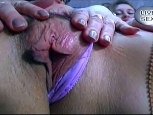 Two young ugly girls playing with an older guy