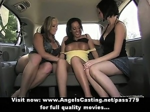 Lesbian chicks and cute hitchhiker kissing in car and licking tits