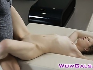 Cute babe gets hard pounded on a couch