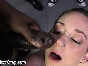 Black cock sucking slut bukkaked