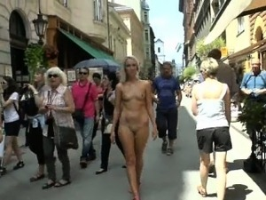 Naughty babes shows their naked bodies in public