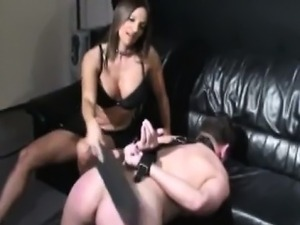 Submissive Guy Spanked and Femdom Fucked