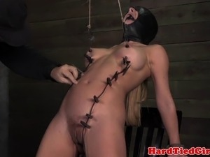 Mask hooded nipple tortured sub punished rough in dungeon