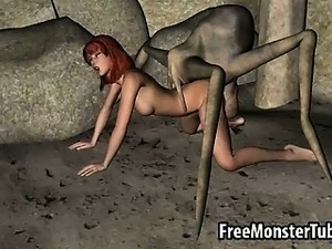 3D redhead gets fucked hard by an alien spider