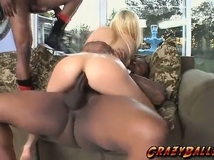 Blonde slut with big tits double penetrated by two huge black cocks!