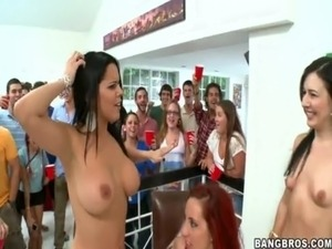 Naughty girls are making love during their friend's party -...