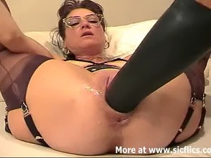 Amateur BBW has her huge cunt fisted and fucked with a monster dildo till she...