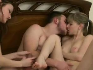 Shy young horny blondes share a thick meaty cock