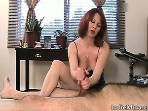Slutty hot brunette chick jerks dude part5
