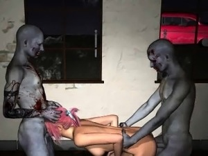 Sexy 3D redhead babe getting double teamed by zombies