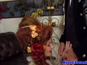 Glamour housewife drooling on dick