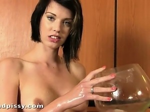 Wet with lube and pussy juice