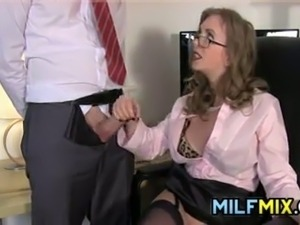 Horny mother having fun with one of her workers cocks at the office
