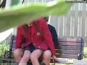 Naughty Schoolgirl Outdoor Bench Sex Festival free