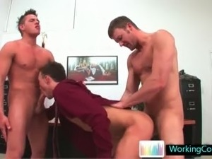 Incredible gay three some at the office part2