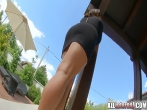 AllInternal Anal creampie oozing from her freshly fucked ass free