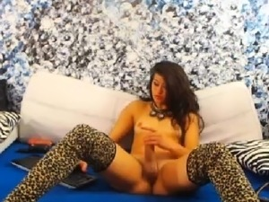 Shemale in Lingerie Jerking her Hard Cock