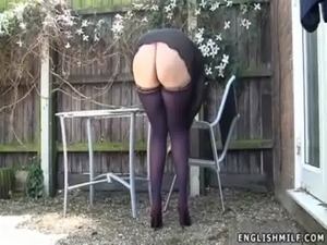stockings upskirt no panties sexy ass UK milf free