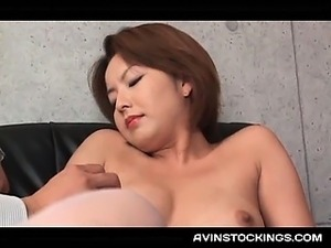 Japanese erotic mom in stockings submitted to sexual teasing