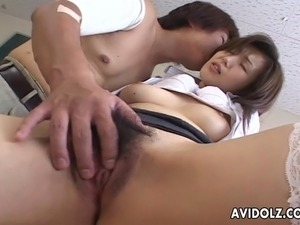 Impeccable Japanese teacher seduces her student and munches on his hard cock....