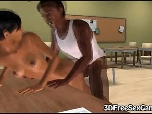 Handsome and horny 3D cartoon dark skinned stallion shoving his cock in his...