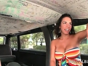 Big titted curly amateur hottie has fun in the sex bus