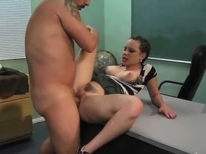 Naughty student fucking teacher on desk