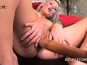 Naked hot blonde nails twat with baseball bat