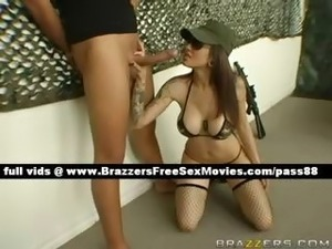 Nasty redhead girl in the army checks her men