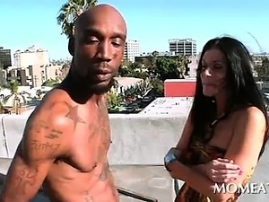 Turned on brunette flashing sexy ass kisses black hot dude