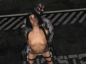 Hot 3D brunette gets fucked outdoors by a zombie