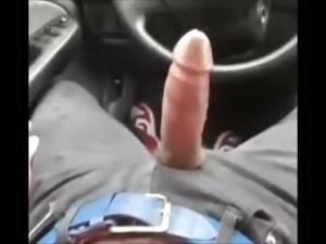 BIG CUT COCK CUM IN CAR