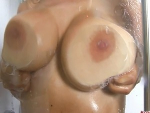 Grace McKenzie gets her white top wet in the shower to show off her massive...
