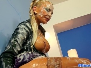 Euro gloryhole babe covered in loads of sticky cum