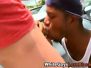 Black guy getting fucked after sucking cock