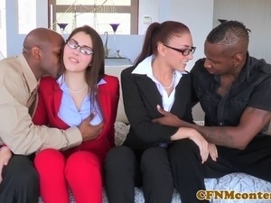 Cfnm femdom Valentina Nappi ass fucked in interracial fourway with pal Mischa...