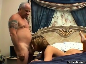 Clair James, blonde babe dares to fuck an old man and see