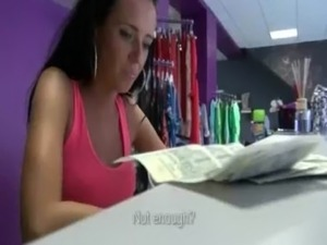 Skinny Czech babe Heather banged in local lingerie store for cash free
