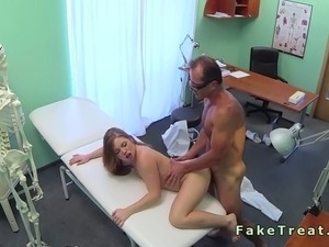 Doctor fuck brunette patient on the desk in fake hospit
