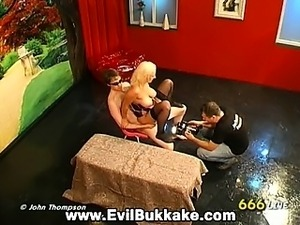 Stunning horny girls love getting down and dirty at bukkake party