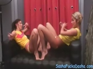 Two sweet girls dancing and pose