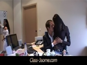 Threesome Relaxation on the office desk free