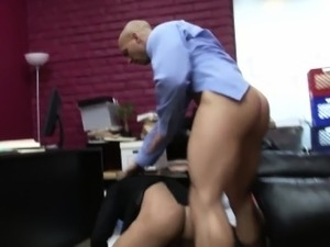 Gaysex office hunk squirted with cum