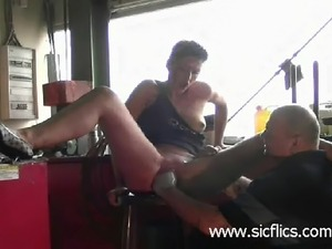 Slutty housewife is brutally fist fucked in a bar till she squirts in orgasm