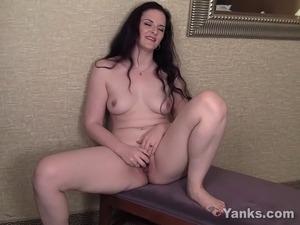 Sweet brunette milf honey Caroline vibrating her delicious pierced muff