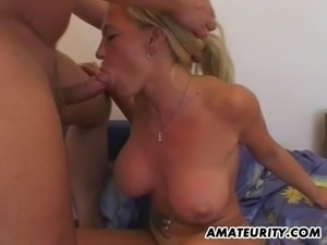 A very busty blonde girlfriend homemade hardcore action with blowjob and fuck...
