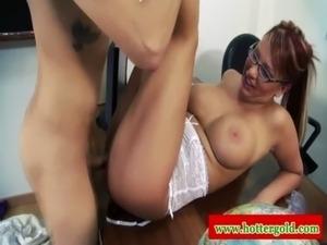 Sexy busty euro latina MILF fucked on desk free