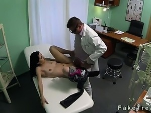 Dark haired babe fucked by doctor in fake hospital