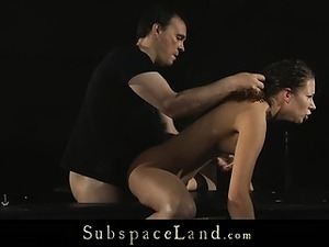 Curly haired whore spanked and ass fucked hard